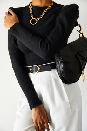Xena Kadın Siyah Omuzları Büzgülü Bluz 1KZK3-10750-02 1