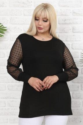 Şirin Butik Kadın Siyah Büyük Beden Tül Üzeri Kadife Puantiye Flok Baskılı Viskon Bluz 4