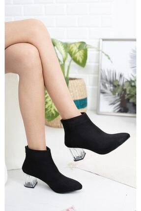 Moda Değirmeni Siyah Süet Kadın Şeffaf Topuk Bot Md1050-116-0001 1
