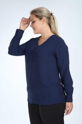 Lir Kadın Lacivert Büyük Beden Uzun Kol Düğmeli Bluz 3