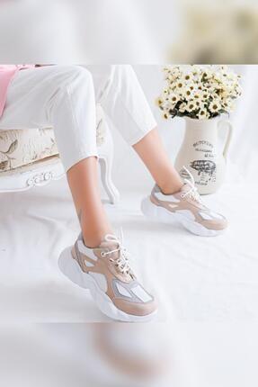 Limoya Kadın Brooklyn Bej Beyaz Gri Süet Bağcıklı Yüksek Tabanlı Sneaker Ayakkabı 1