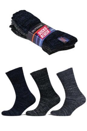 socksbox Erkek Siyah Outdoor Termal Etkili Kışlık Jeans Çorap 3 Adet 0
