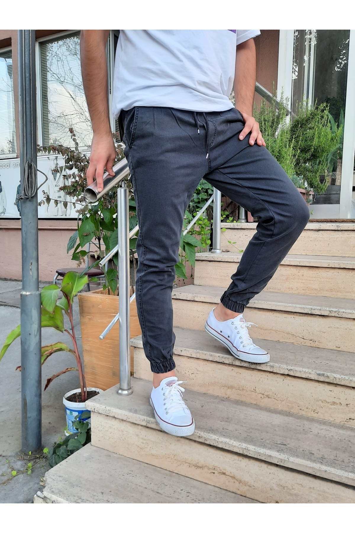Erkek Füme Paça Lastikli Likralı Jogger Pantolon