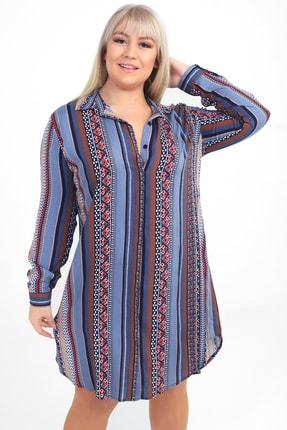 Picture of Kadın Gri Karışık Desen Viskon Büyük Beden Gömlek Elbise S-20Y3570010
