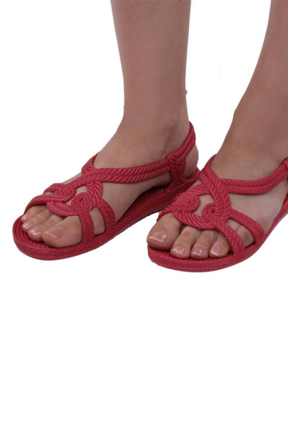 KAŞGAR Kadın Kırmızı Örgü Desenli Sandalet 1836