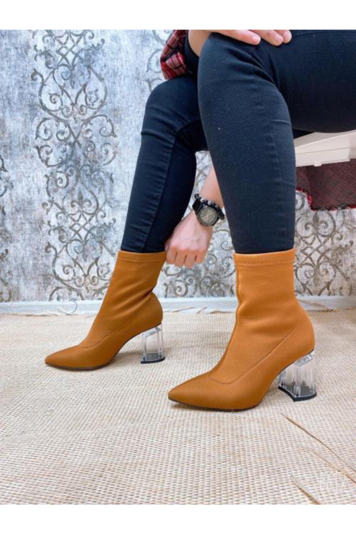 Gazal Shoes Kadın Taba Yarım Çorap Bootie
