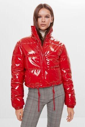 Bershka Kadın Kırmızı Suni Deri Şişme Mont 0