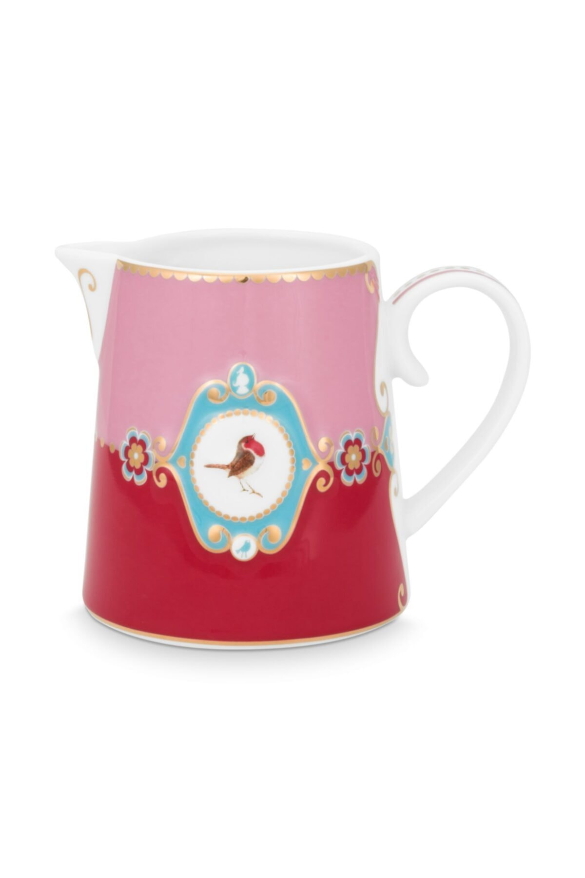 Love Bird Pembe/kırmızı Madalyon Desenli Sütlük 270 Ml
