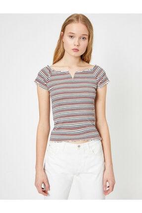 Koton Kadın Pembe Çizgili T-shirt 2