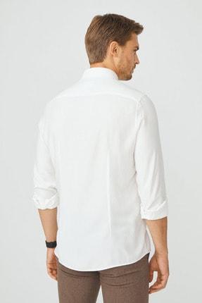 Avva Erkek Beyaz Armürlü Alttan Britli Yaka Slim Fit Gizli Patlı Gömlek A02Y2216 2