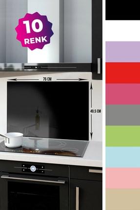Decorita Düz Renk - Siyah   Cam Ocak Arkası Koruyucu   49.5cm x 76cm 0