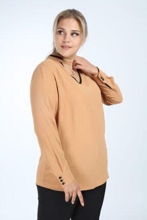 Lir Kadın Büyük Beden Uzun Kol Biyeli V Yaka Bluz Vizon 1