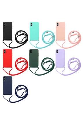 TeknoDuvar Apple Iphone Xs Max Ropi Omuz Boyun Ipli Askılı Renkli Silikon Kılıf Kapak 1