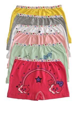 Tutku Kız Çocuk Renkli Likralı Pamuk Boxer 6 Lı 1