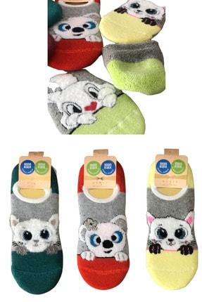 socksbox 3 Lü Bayan Yumoş Sevimli Desenler Kışlık Kısa Dikişsiz Çorap 0