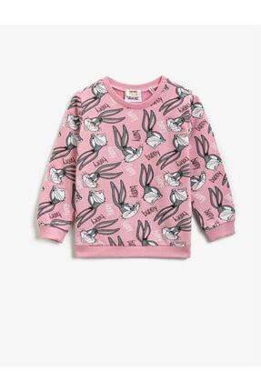 Koton Pamuklu Bugs Bunny Lisanslı Baskılı Bisiklet Yaka Sweatshirt 0