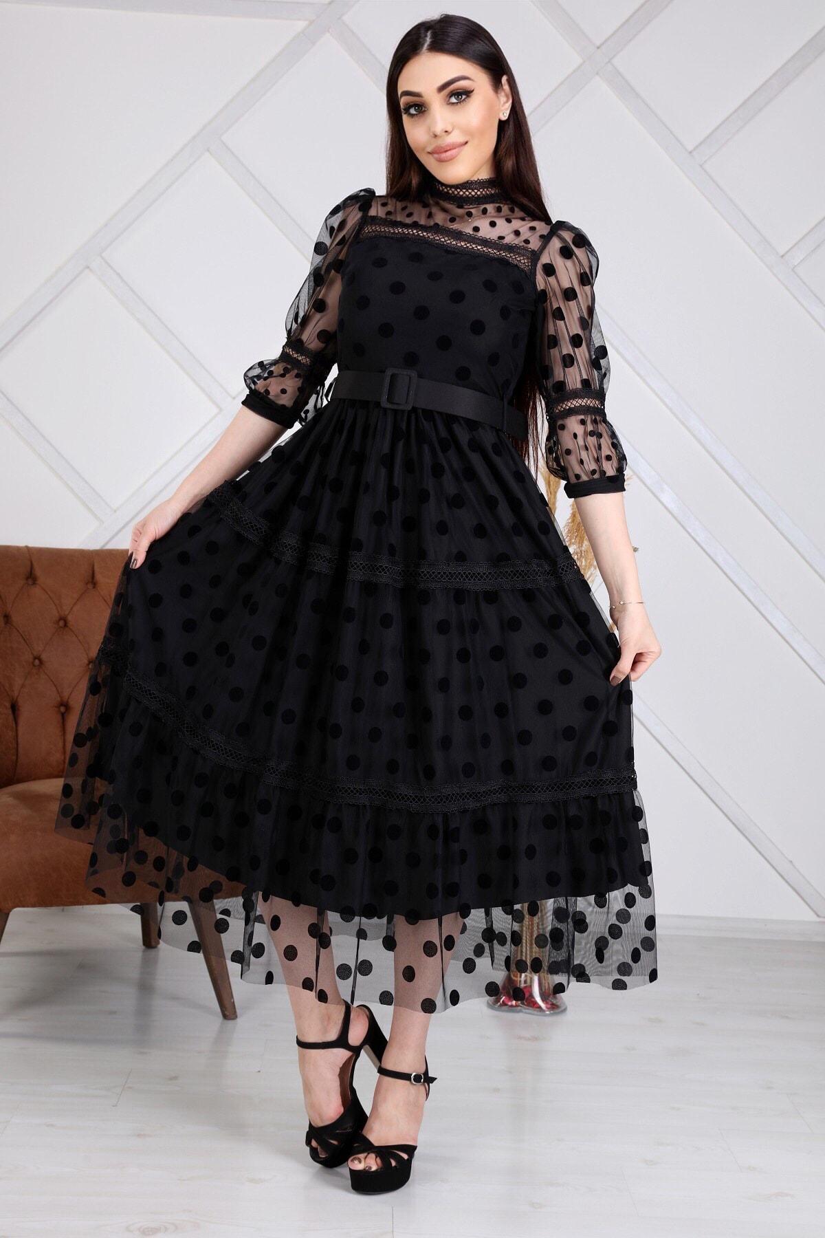 Kadın Siyah Tül Kemerli Elbise
