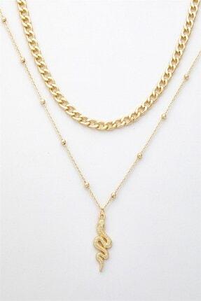 X-Lady Accessories Kadın Altın Rengi Yılan Figürlü Kombin Kolye 087 1