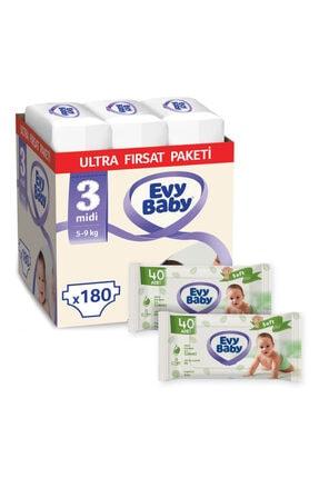 Evy Baby Bebek Bezi 3 Numara Midi 180 Adet Ve 2 Paket Islak Havlu 0