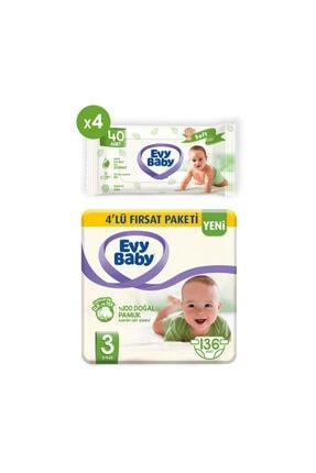 Evy Baby Bebek Bezi 3 Beden Midi 136 Adet Ve 4 Paket Islak Havlu 0
