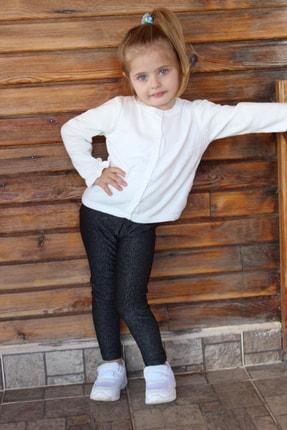 تصویر از Kız Çocuk Ekru Basic Kolu Fırfırlı Hırka
