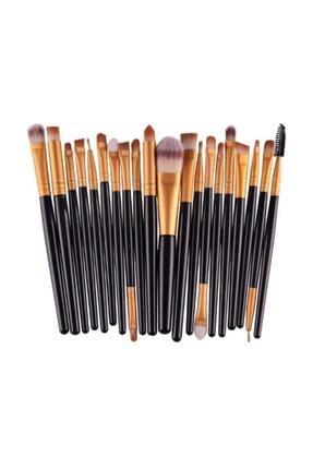 İzla Profesyonel Yumuşak Makyaj Fırça Seti 20'li Siyah Renk 0