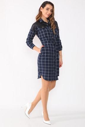 etselements Kadın Lacivert Düğme Ve Kuşak Detaylı Yaka Elbise 1