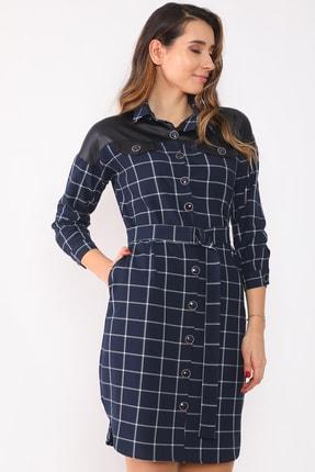 etselements Kadın Lacivert Düğme Ve Kuşak Detaylı Yaka Elbise 2