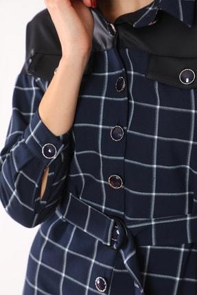 etselements Kadın Lacivert Düğme Ve Kuşak Detaylı Yaka Elbise 3