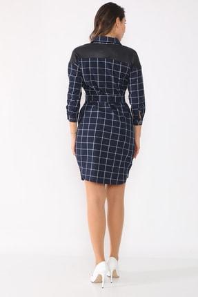 etselements Kadın Lacivert Düğme Ve Kuşak Detaylı Yaka Elbise 4