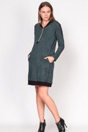 BUSA Kadın Yeşil Fermuarlı Desenli Hamile Günlük Elbise 1