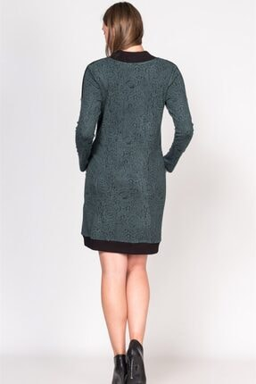 BUSA Kadın Yeşil Fermuarlı Desenli Hamile Günlük Elbise 2