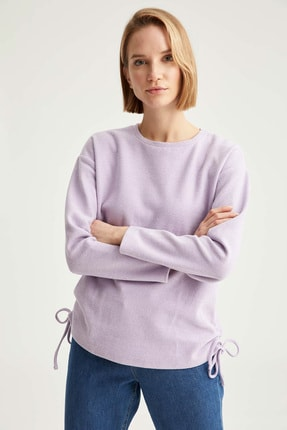 Defacto Kadın  Lılac Yanları Büzgü Detaylı Relax Fit Sweatshirt T2456AZ20WN 0