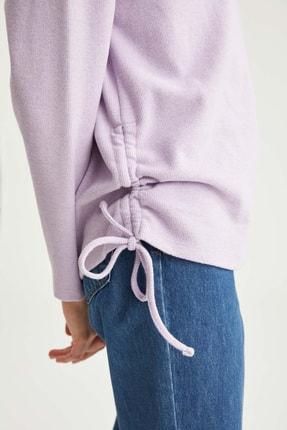 Defacto Kadın  Lılac Yanları Büzgü Detaylı Relax Fit Sweatshirt T2456AZ20WN 2