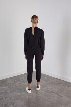 Join Us Kadın Siyah Beli ve Paçası Lastikli Cepli Triko Pantolon 3