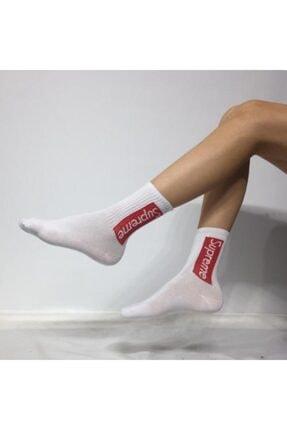 Adel Kokulu Unisex Supreme Desenli Kolej Çorabı 0