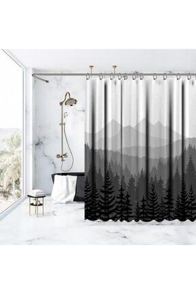 Henge Home Baskılı Duş Perde Orman Çam Desenli Dağ Siyah Beyaz Gri 1