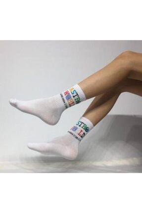 Adel Kokulu Unisex Astro World Desenli Kolej Çorabı 0