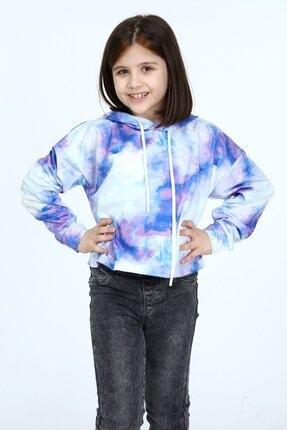Kız Çocuk Elbise Kemer Üstü Sweatshirt Giyim Mor Batik Kapşonlu Kıyafet SO12C21968