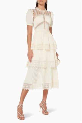 Krema Dantel Detaylı Tasarım Elbise Dantel İşlemeli İthal Elbise