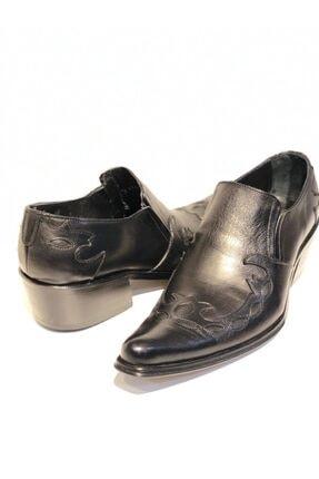 Erkek Siyah Deri Kovboy Ayakkabı 7542855830