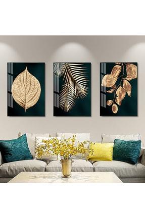 Sanat fotoğraf 3'lü Soyut Altın Yaprak Çerçeveli Ve Camlı Tablo Seti Poster Duvar Dekoru Modern Oturma Odası 1