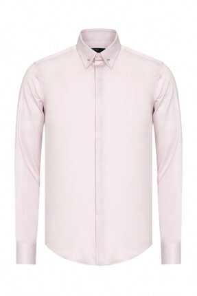 Paşahan Erkek Pembe Slim Fit Yaka İğneli Gömlek 0