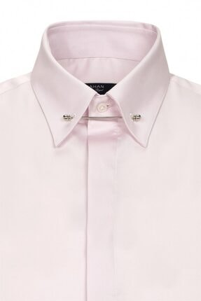 Paşahan Erkek Pembe Slim Fit Yaka İğneli Gömlek 1