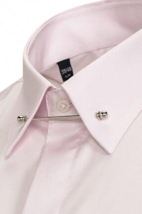 Paşahan Erkek Pembe Slim Fit Yaka İğneli Gömlek 4
