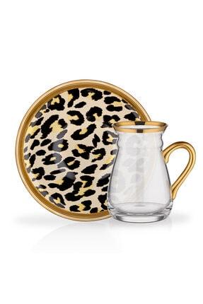Glore 6 Lı Leopar Nihavent Kulplu Çay Seti 0