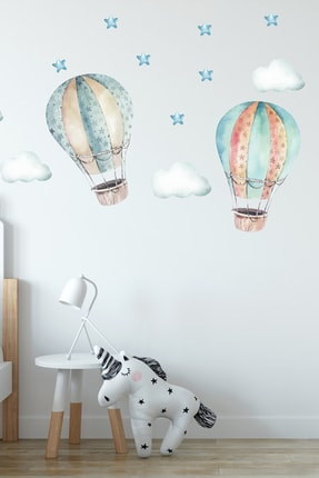 Sim Tasarım Uçan Hava Balonları Duvar Sticker Seti 1