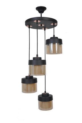 Sade Siyah Modern 4 Lü Çift Cam Bal DKR-100-213