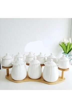 9 Parça Kaşıklı Bambu Standlı Porselen Baharat Takımı GHLPQTY9