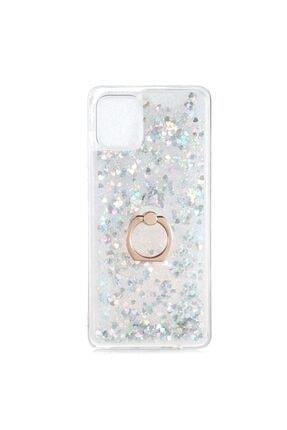 Samsung Teleplus Galaxy A31 Kılıf Milce Yüzüklü Sulu Silikon Gümüş 0